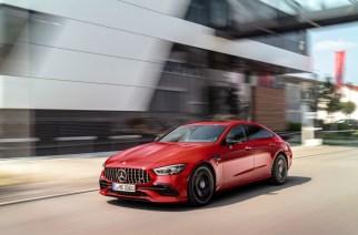 Mercedes-AMG GT 43 4MATIC+ 4-Türer Coupé (2018), Jupiterrot, AMG Night-Paket Exterieur;Kraftstoffverbrauch kombiniert: 9,4-9,1 l/100 km, CO2-Emissionen kombiniert: 215-209 g/km*Mercedes-AMG GT 43 4MATIC+ 4-Door Coupé (2018), Jupiter red, AMG Exterior Night package;Combined fuel consumption: 9.4-9.1 l/100 km, Combined CO2 emissions: 215-209 g/km*
