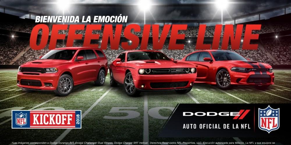 Dodge será el Auto Oficial de la NFL en México durante la temporada 2018-2019