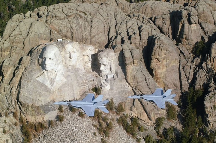 Two-Hornets-flying-by-Mount-Rushmore