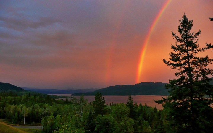 Red Thunderstorm Rainbow over Canim Lake. Life isn't about waiting for the storm to pass; it's learning to dance in the rain. Photo #24 by Brigitte Werner
