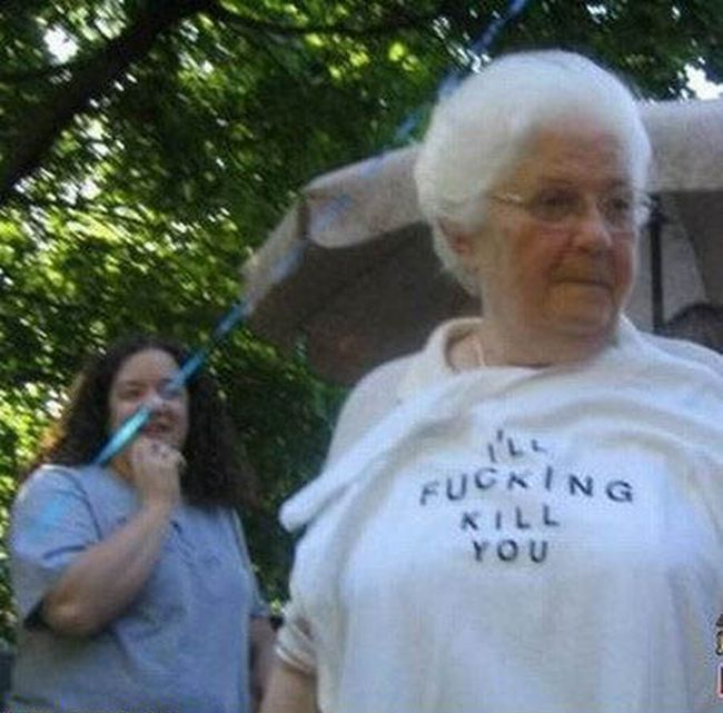 Old People Wearing Funny T-shirts (17 Pictures)