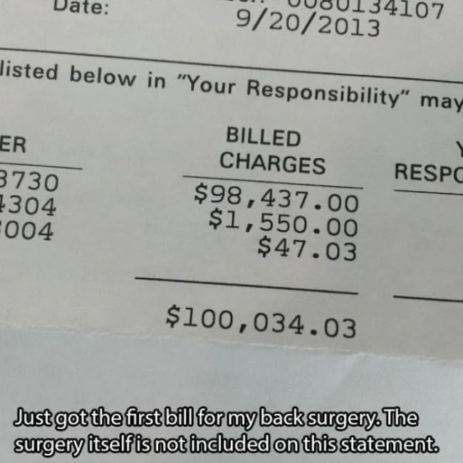 No Insurance Ticket >> US Medical Bills (15 pictures) | Memolition