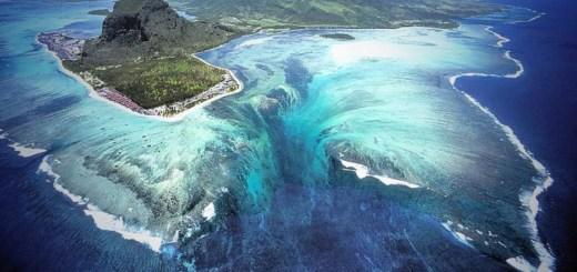 An underwater waterfall