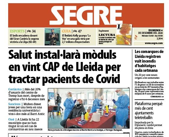 Notícia: Salut instal·larà mòduls en vint CAP de Lleida per tractar pacients de Covid