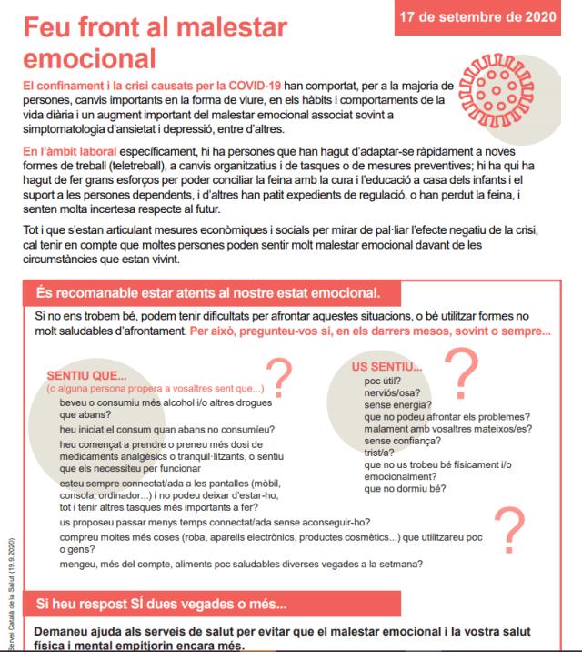 Cartell: Feu front al malestar emocional