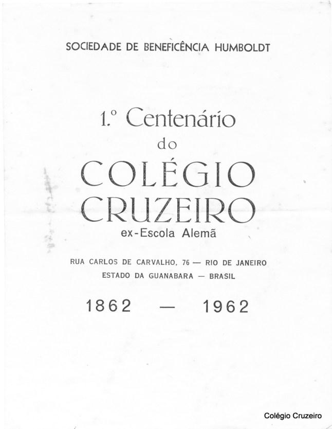 1962 - Convite para a comemoração do Centenário do Colégio Cruzeiro