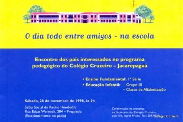 1998 - Convite para apresentação do projeto pedagógico do Colégio Cruzeiro - Jacarepaguá