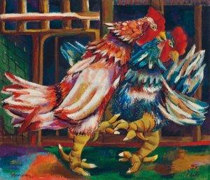 Mariano Rodríguez, Pelea de gallos, 1942. Cortesía de Christie's.