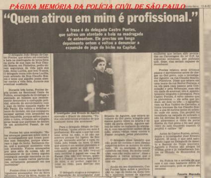 """Matéria do Jornal da Tarde (Estadão), sobre o Delegado João Sérgio de Castro Pontes """"Cavaleiro Negro"""" e o então Investigador José Ernesto Aguirre. (enviado por Daniel Aguirre)."""
