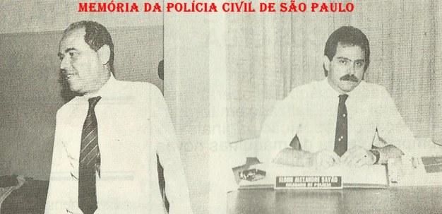 """5ª Delegacia de Roubo a Bancos da DISCCPAT- DEIC (Kilo), década de 80: Delegados Carlos Alberto Costa """"Carioca"""" e Elson Alexandre Sayão."""