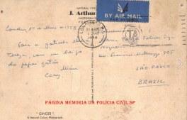 Cartão postal enviado pelo Delegado de Polícia Coriolano Nogueira Cobra, quando encontrava-se em Londres- Inglaterra, em um curso na Scotland Yard, para sua filha Teresa Cobra, em 1º de maio de 1.958.