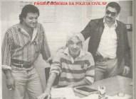 """Investigadores Marcão, Santista e Eurípedes dos Santos Bueno """"Bubú"""", em 1.993."""
