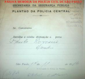 Modelo de Recolha usado pelo Delegado de Polícia, em 1956