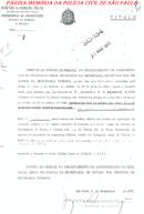 """Título declarando o Investigador de Polícia Mario Benedito Pinheiro para o exercício do cargo, assinado pela Diretora da Divisão do Pessoal da DGP/SSP, Josefina Scaramuça """"in memorian"""", em 09 de dezembro de 1.976."""