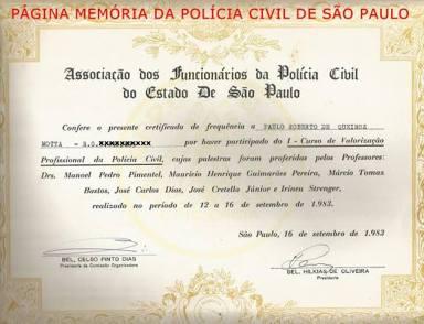 Certificado de Curso de Valorização Profissional da Polícia Civil da AFPCESP, do Investigador Paulo Roberto de Queiroz Motta (Atual Delegado Titular do Jd Casqueiro- DEINTER 6), em 16 de setembro de 1.983