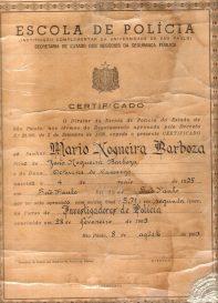 Certificado de Curso de Formação Técnico Profissional da Antiga Escola de Polícia da Rua São Joaquim, na década de 60