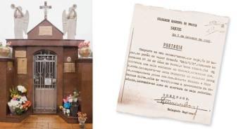 Portaria do Inquérito Policial do famoso crime da mala ocorrido em 1.928, e jazigo da vítima Maria Mercedes Féa Pistone no Cemitério da Filosofia no bairro do Saboó, na cidade de Santos.