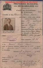 Carta de Condutor de Carroça, expedida em 27 de janeiro de 1938.
