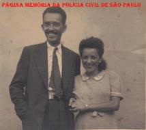 Delegado de Polícia Coriolano Nogueira Marco Cobra e sua esposa, na década de 40. (Acervo da filha Sra. Teresa Cobra).