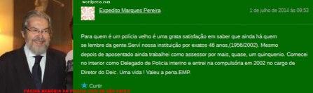 """O maior conhecedor de crimes sobre estelionato da história da Polícia de São Paulo, Expedito Marques Pereira, e sua manifestação sobre o Blog e a Página do Facebook """"Memória da Polícia Civil de São Paulo"""", em 01 de julho de 2.014."""