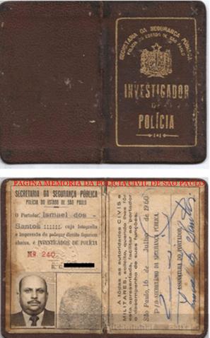 """A famosa funcional de Investigador de Polícia, a """"Carteira Preta"""", expedida em 1.960. Acervo do Delegado Américo Rissato."""