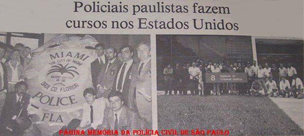 Policiais Civis de São Paulo, participando em curso na cidade de Miami- USA, em 1.990, João Caçula Kasemiro, Hilkias de Oiliveira e Dirceu Gravina (Posteriormente, os últimos dois passaram para Delegado de Polícia).