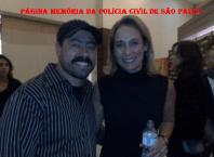nvestigador de Polícia Marcelo Rafael do Homicídios da Seccional de Santo André ao lado da atriz Andréa Beltrão nos bastidores do lançamento do filme Salve Geral no qual atuou.