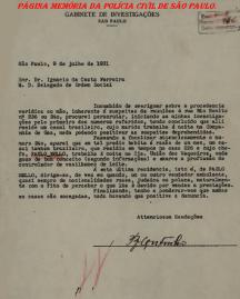 Documento recebido pelo Delegado de Polícia Ignácio da Costa Ferreira, que em novembro de 1.937, foi nomeado Secretário de Segurança Pública do Estado de São Paulo.