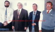 Antigo 2º DP do Município de Guarujá (Itapema), em meados da década de 90. Delegados Paulo Della Rosa, Regional de Santos Geraldo Camargo, Carlos Lind Gomes e Jair Mazzeto.