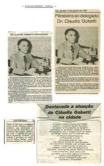 Delegado de Polícia (ex Diretor do DEIC, DECAP, etc... hoje aposentado) Cláudio Gobetti homenageado, quando era Titular de São Caetano do Sul, em 1.984. (enviado pela Agente de Telecomunicações do DIPOL Ale Oliveira).