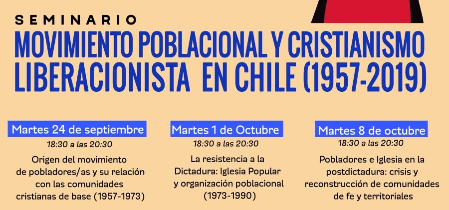 SEMINARIO ABIERTO A LA COMUNIDAD: Movimiento poblacional y cristianismo liberacionista en Chile (1957-2019)