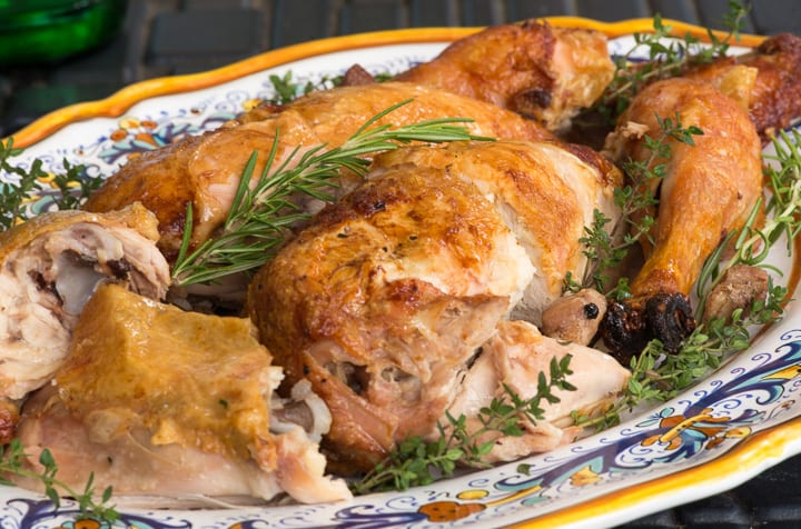 Spit Roasted Chicken with Pancetta Stuffing
