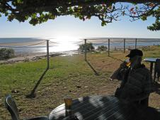 Kurumba Beach on the Gulf of Carpenteria, enjoying a beer as the sun sets