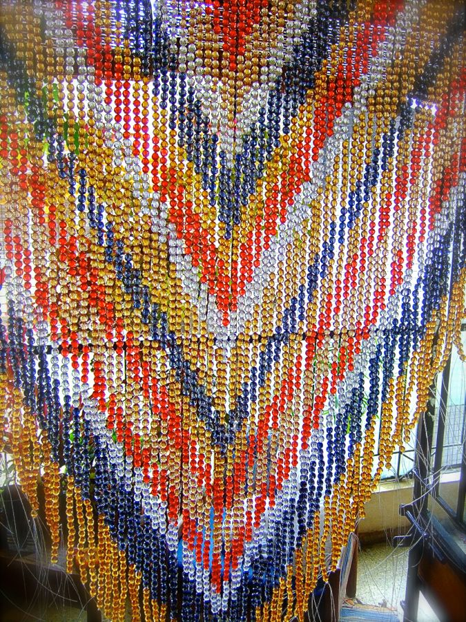 Aztec Navy Champagne Red Acrylic Crystal Beaded Curtain Ready Made Collection Memories Of