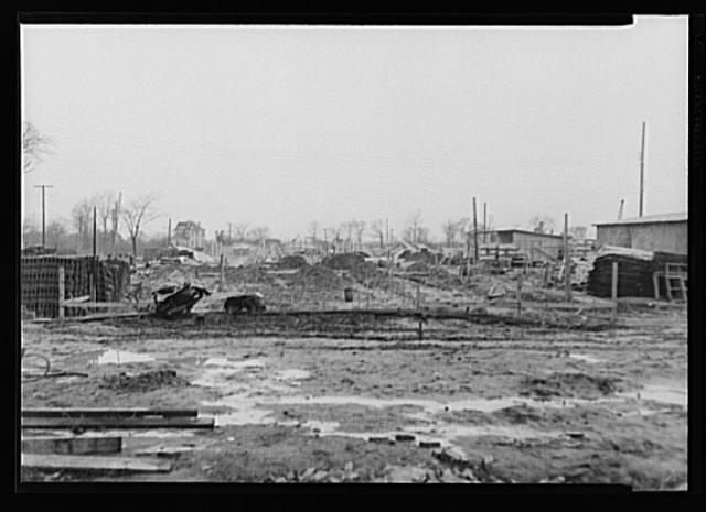 Work starts on Swanson House, USHA (U.S. Housing Administration)-financed defense housing project, Virginia.  July 1941