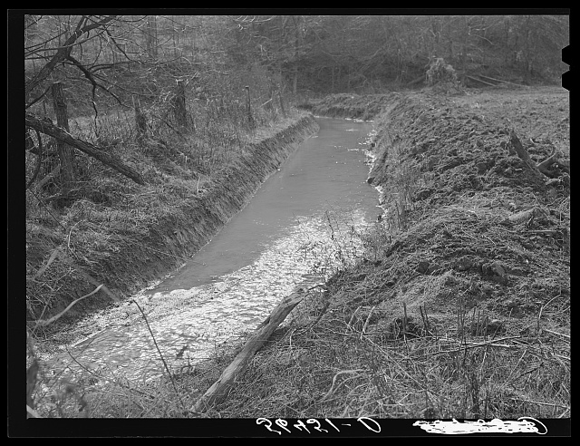 Many drainage ditches have been made and creeks cleaned out and land cleared on the creek bottom land of the farms of FSA borrowers. Southern Appalachian Project near Barbourville, Knox County, Kentucky.  November 1940.  Marion Post Wolcott, photographer.
