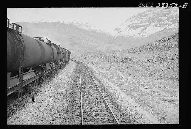 Tank cars carrying fuel, winding their way through some of the mountainous country somewhere in Iran.  c. 1943   Nick Parrino, photographer (Library of Congress)
