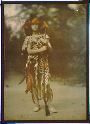 Witter Bynner as Stark the plume hunter, a character in Percy MacKayes play Sanctuary: A Bird Masque, in rehearsal for first performance.  1913 September.  Arnold Genthe, photographer.