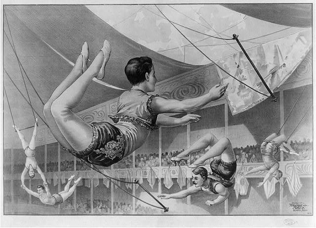 Five male trapeze artists performing at a circus.  Detroit, Mich. : Calvert Litho Co., c1890