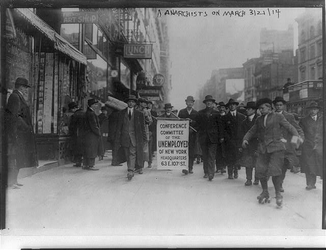 Anarchists on march - Carrying banner of Conference Committee of the Unemployed of New York. March 21, 1914.