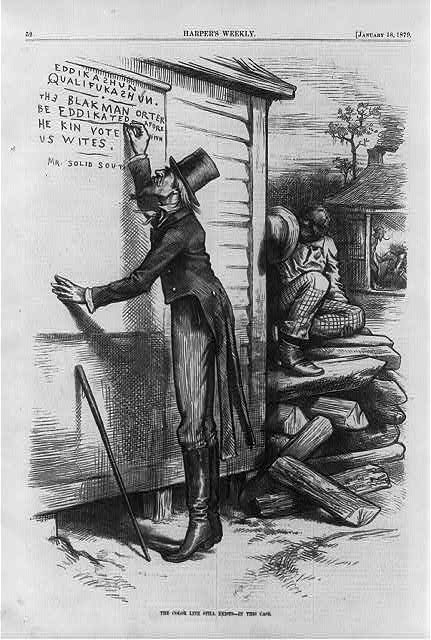 Cartoon showing Uncle Sam writing on wall, Eddikashun qualifukashun. The Black man orter be eddikated afore he kin vote with US Wites, signed Mr. Solid South.  (1879)