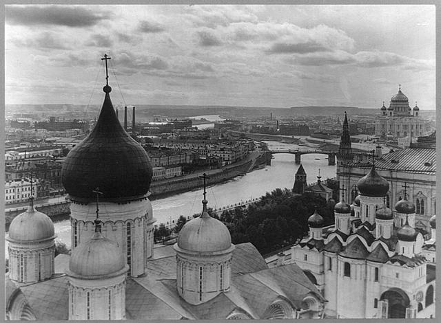 Birds-eye view of the city of Moscow, Russia, from Ivan Viliky overlooking the Uspensky Cathedral and the Moscow River (1918)