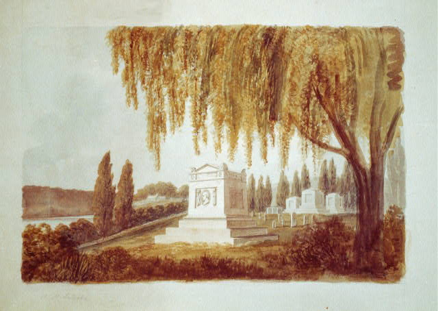 Architectural drawing for a monument for Vice President George Clinton, Congressional Cemetery, Washington, D.C., c1812.   Benjamin Henry Latrobe, 1764-1820, architect. (Library of Congress)