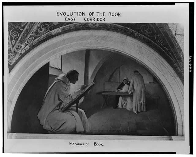 Evolution of the book, east corridor. Manuscript book / J.W. Alexander, artist.  Photo of mural in the Library of Congress Jefferson Building depicting a monk illustrating a manuscript, with two monks in background.  c1896.