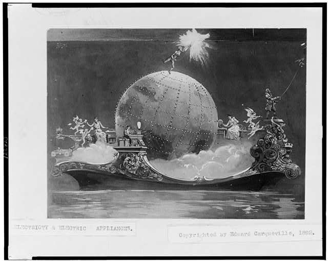 Electricty & electric appliances - Photograph of painting(?), pertaining to the invention of electricity, showing globe, cherubs, and other mythological people on ship (circa 1892)