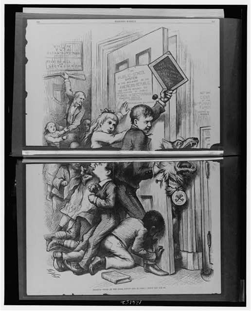 Tildens Wolf at the door, gaunt and hungry - Dont let him in / Thomas Nast.  Children trying to keep wolf, with collar Democrat, and tag, foreign Roman church, out of door with sign The public-school system is the bulwark of the American republic and for its security the application of public funds to sectarian purposes should be forbidden - Republican declaration.  Illus. in: Harpers weekly, v. 20, no. 1029 (1876 Sept. 16)