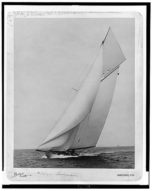 Yacht Columbia under full sail.  August 1, 1901.