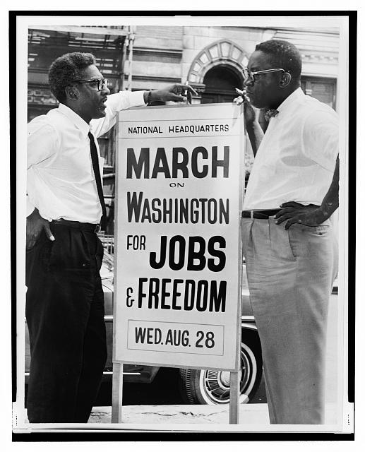 In front of 170 W 130 St., March on Washington, (left to right) Bayard Rustin, Deputy Director, Cleveland Robinson, Chairman of Administrative Committee / World Telegram & Sun photo by O. Fernandez. (1964)