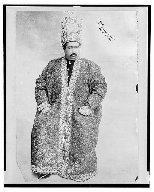 Shah of Persia, Mohammed Ali Mirzi,  the first Persian monarch to rule under a constitution, deposed in July 1909.  Photo by G. Grantham/Bain News Service, c. December 19, 1907 (Library of Congress)