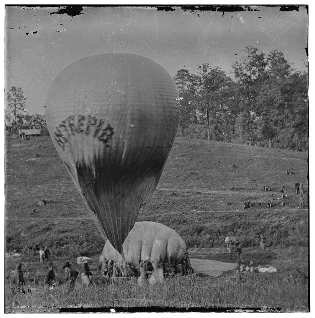Fair Oaks, Virginia. Prof. Thaddeus S. Lowe replenishing balloon INTREPID from balloon CONSTITUTION  c.1862 May. (Library of Congress)